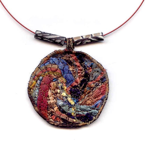 Fiber Collage Necklace in Earthy Browns and Blues