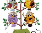 CAMPING TWEET - - Machine Embroidered Quilt Block (AzEB)