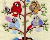 SPRING CLEANING TWEET - - Machine Embroidered Quilt Block (AzEB)