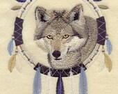 WOLF DREAM CATCHER - Machine Embroidered Quilt Block (AzEB)