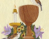 CHALICE AND SPARROWS  - Machine Embroidery Quilt Block (AzEB)