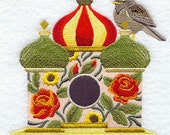 RUSSIAN BIRDHOUSE With Pale THRUSH - Machine Embroidery Quilt Blocks (AzEB)