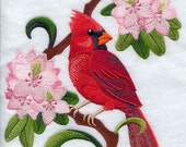 WEST VIRGINIA CARDINAL& Rhododendron Medley - Machine Embroidery Quilt Block (AzEB)