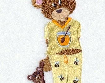 BEAR IN PAJAMAS - Machine Embroidery Quilt Block (AzEB)