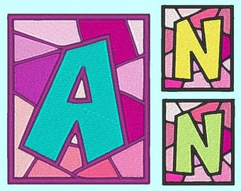 STAINED GLASS  - 158 Machine Embroidery Font Designs Instant Download 4x4 5x7 hoop (AzEB)