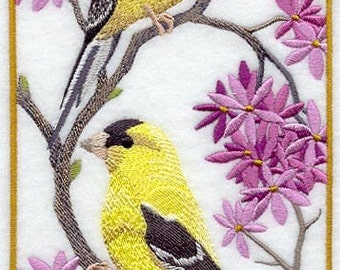 GOLD FINCHES - MACHINE EMBROIDERED QUILT BLOCKS (AZEB)