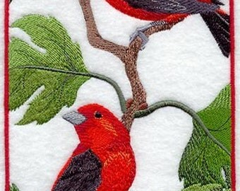 SCARLET TANAGER - MACHINE EMBROIDERED QUILT BLOCKS (AZEB)