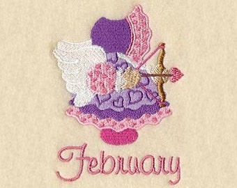 SUNBONNET SUE MONTHS of the Year-(February) - Machine Embroidery Quilt Block (AzEB)