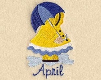 SUNBONNET SUE MONTHS of the Year (April) - Machine Embroidery Quilt Block (AzEB)