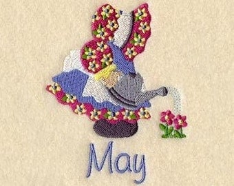SUNBONNET SUE MONTHS of the Year (May) - Machine Embroidery Quilt Block (AzEB)