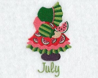 SUNBONNET SUE MONTHS of the Year (July 2) - Machine Embroidery Quilt Block (AzEB)