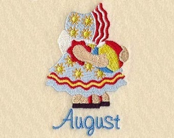 SUNBONNET SUE MONTHS of the Year (August) - Machine Embroidery Quilt Block (AzEB)