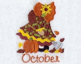 SUNBONNET SUE MONTHS of the Year (October) - Machine Embroidered Quilt Block (AzEB)