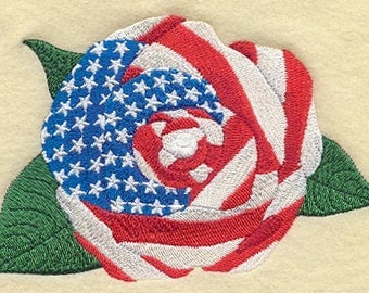 FLAG ROSE (large)-- 1 - MACHINE EMBROIDERED QUILT BLOCK (AzEB)