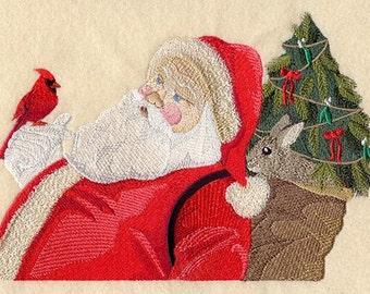 SANTA and CARDINAL - Machine Embroidered Quilt Block  (AZEB)