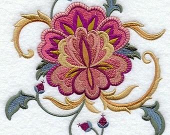 JACOBEAN FLOWER 7 - Machine Embroidered Quilt Block (AzEB)