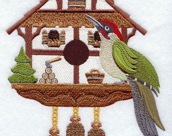GERMAN Birdhouse With EURASIAN Green WOODPECKER - Machine Embroidery Quilt Block (AzEB)
