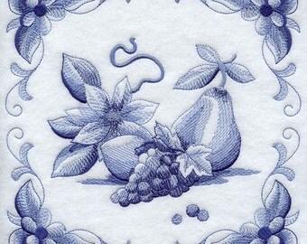 DELFT BLUE CLEMATIS - Machine Embroidered Quilt Blocks (AzEB)
