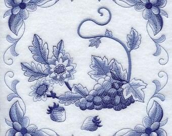 DELFT BLUE CHRYSANTHEMUM - Machine Embroidered Quilt Blocks (AzEB)
