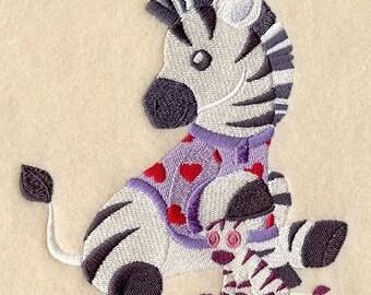 BABY ZEBRA in PAJAMAS - Machine Embroidered Quilt Blocks (AzEB)
