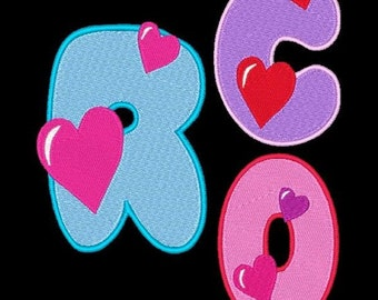 HEARTS DESIRE - 98 Machine Embroidery Font Designs Instant Download 4x4 5x7 6x10 hoop (AzEB)