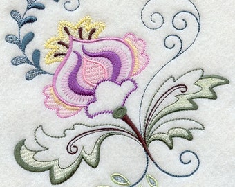 VINTAGE JACOBEAN FLOWER 5 - Machine Embroidered Quilt Blocks (AzEB)