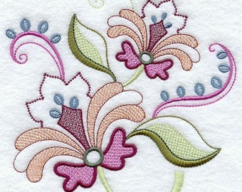 VINTAGE JACOBEAN FLOWER 6 - Machine Embroidered Quilt Blocks (AzEB)