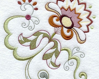 VINTAGE JACOBEAN FLOWER 7 - Machine Embroidered Quilt Blocks (AzEB)