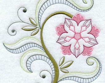 VINTAGE JACOBEAN FLOWER 9 - Machine Embroidered Quilt Blocks (AzEB)