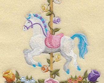 FANCY CAROUSEL HORSES Quilt Block - Machine Embroidered Quilt Block (AzEB)