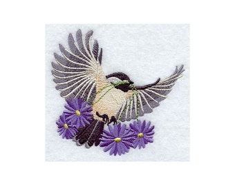 FLYING CHICKADEE - Machine Embroidery Quilt Blocks (AZEB)