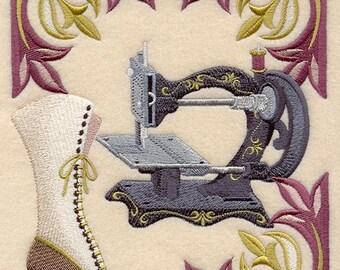 VICTORIAN SEWING MACHINE - Machine Embroidered Quilt Blocks (AzEB)
