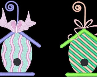 EGG-CELLENT BIRDHOUSES - 20 Machine Embroidery Designs Instant Download 4x4 5x7 hoop (AzEB)