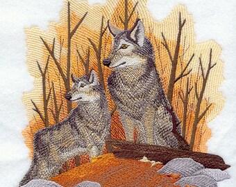AUTUMN WOLF PAIR - Machine Embroidered Quilt Blocks (AzEB)