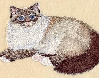 BIRMAN CAT - Machine Embroidered Quilt Blocks (AzEB)