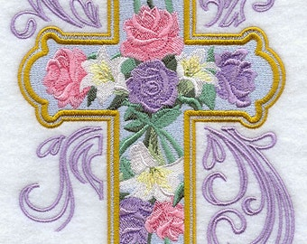 ROSE and LILY CROSS - Machine Embroidered Quilt Blocks (AzEB)