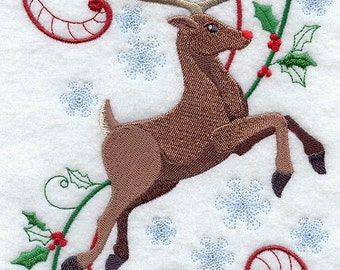 ENCHANTED CHRISTMAS RUDOLPH- Machine Embroidered Quilt Block (AzEB)
