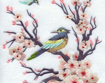 CHINOISERIE BIRD and BLOOMS Scene- Machine Embroidery Quilt Blocks (Azeb)
