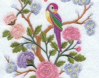 CHINOISERIE Bird and PASTEL PETALS Scene- Machine Embroidered Quilt Blocks (Azeb)
