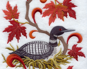 CANADA COMMON LOON and Maple Leaf Medley - Machine Embroidered Quilt Blocks (Azeb)