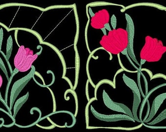 TULIP BLOCKS - 36 Machine Embroidery Designs Instant Download 4x4 5x7 6x10 hoop (AzEB)