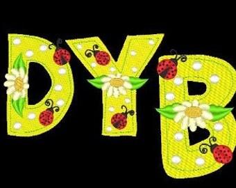 LADYBUG, LADYBUG  - 52 Machine Embroidery Font Designs Instant Download 4x4 5x7 6x10 hoop (AzEB)