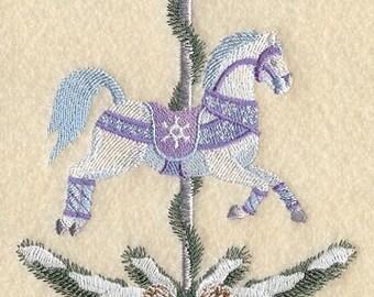 WINTER CAROUSEL HORSE - Machine Embroidery Quilt Block(AzEB)