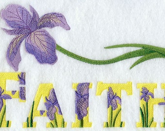 FAITH WITH IRIS - Machine Embroidery Quilt Block (AzEB)