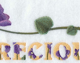 PRECIOUS WITH VIOLET - Machine Embroidery Quilt Block (AzEB)