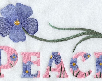 PEACE WITH FLAX - Machine Embroidery Quilt Block (AzEB)
