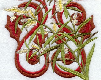 VICTORIAN OLIVE BLOSSOMS - Peace - Machine Embroidery Quilt Block (AzEB)