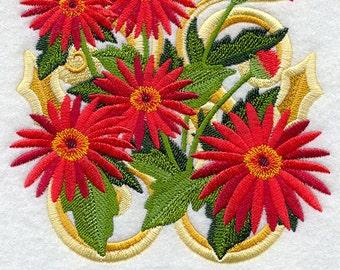 VICTORIAN RED DAISIES - Cheer - Machine Embroidery Quilt Block (AzEB)