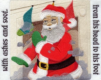 The NIGHT BEFORE CHRISTMAS Storybook - Page 17- Machine Embroidered Quilt Block (AzEB)