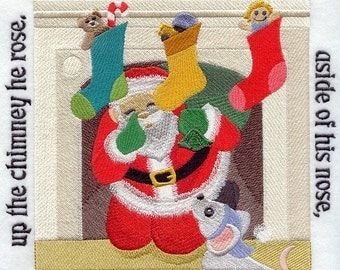 The NIGHT BEFORE CHRISTMAS Storybook - Page 26- Machine Embroidered Quilt Block (AzEB)